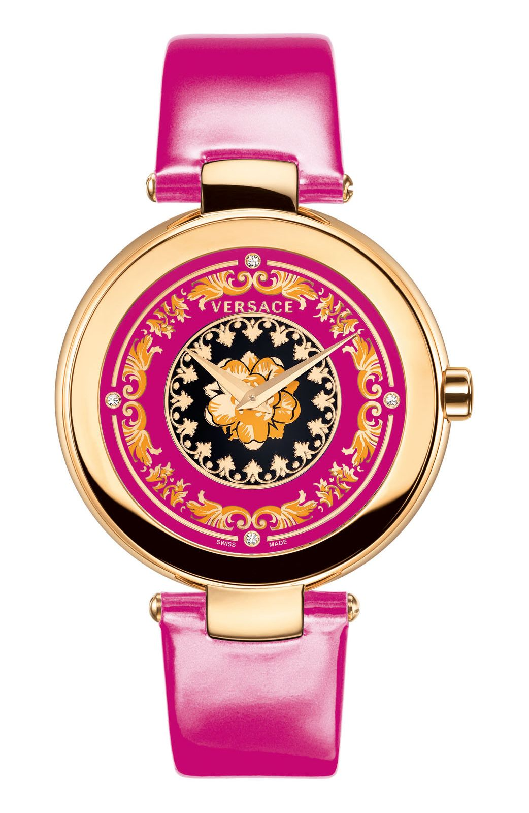 47963dd1ce4 MYSTIQUE FOULARD BY VERSACE - SWISS QUARTZ MOVEMENT RONDA 762.2 - 38 MM  STAINLESS STEEL IPRG 4N ROUND CASE - ENAMELED DIAL WITH ROSE GOLD BAROQUE  PATTERN