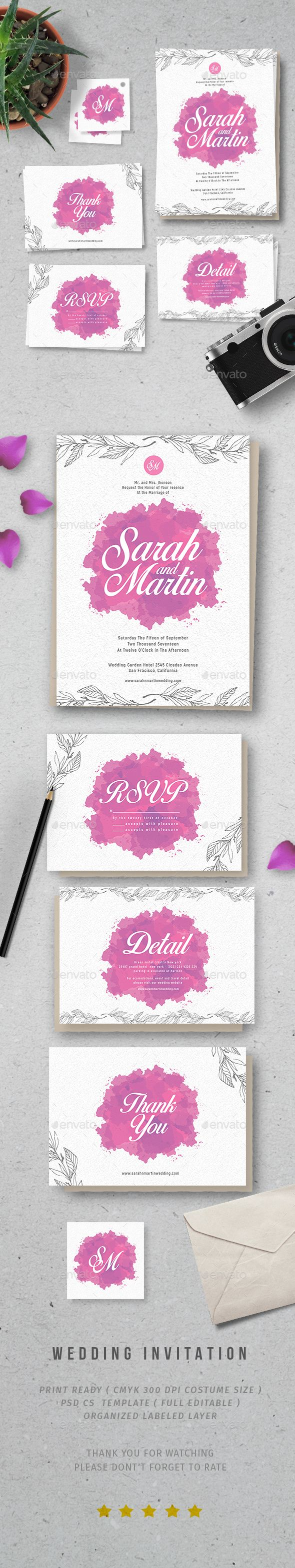 free wedding invitation psd%0A Watercolor Wedding Invitation