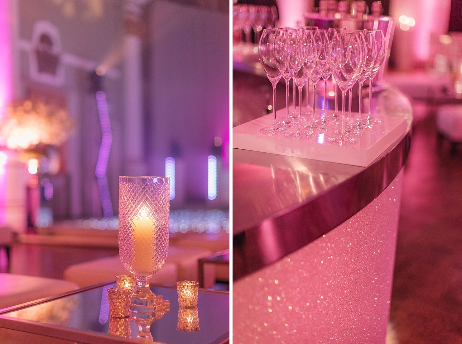 Pretty In Pink | Table Centres | Mirrors | Candlelit | Glitter Bar |  Sparkles |