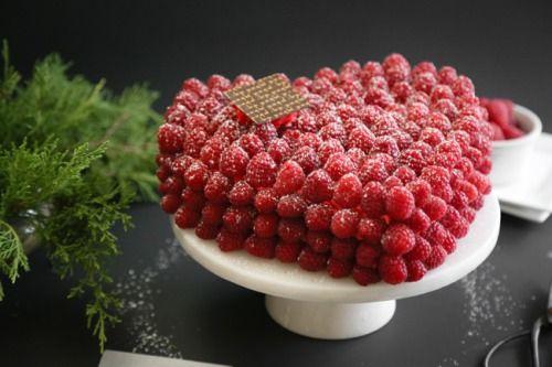 Raspberry-Covered Devil's Food Cake