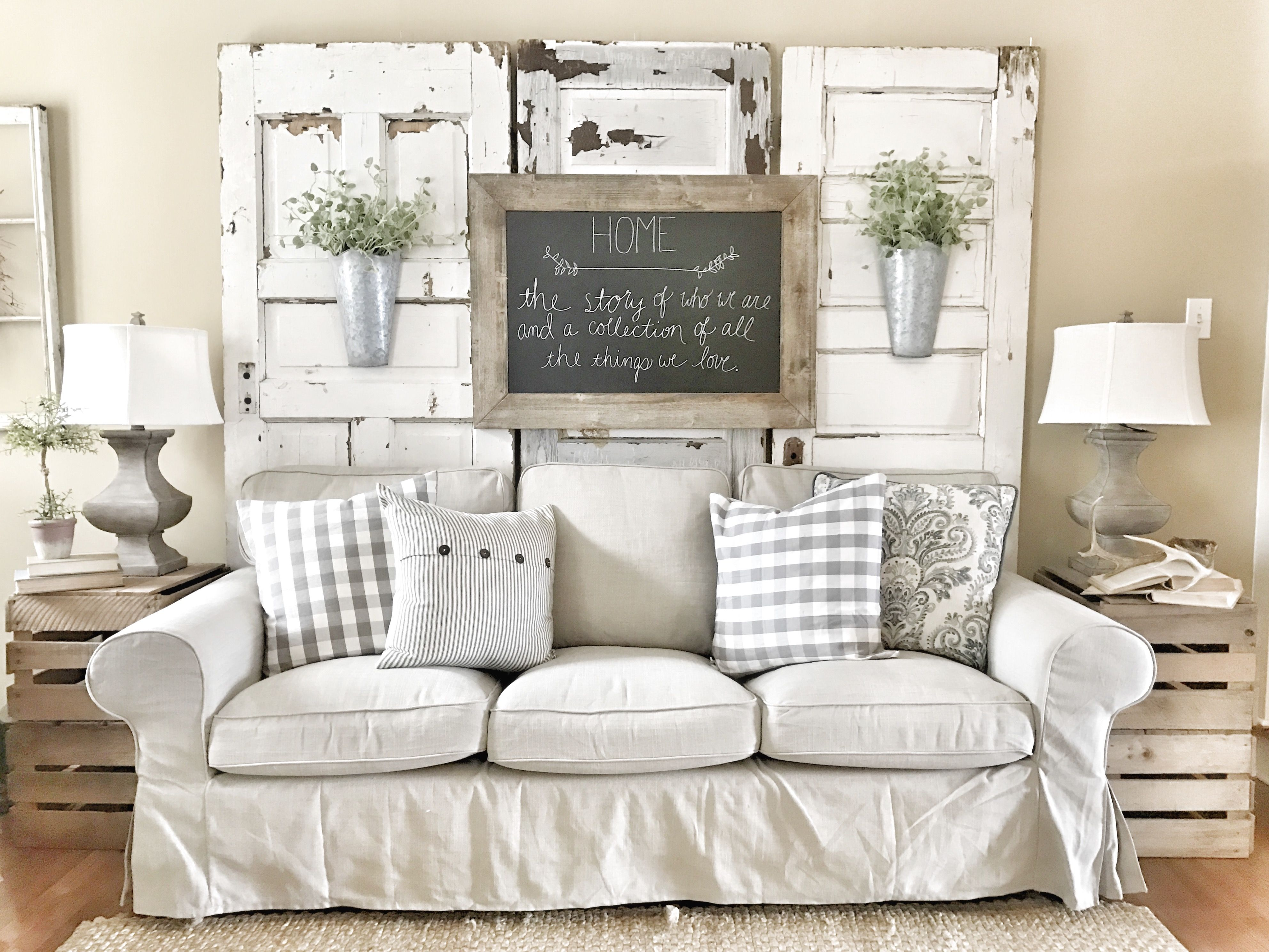farmhouse decor farmhouse style living room decor split modern apartment decorating ideas Farmhouse living room! IKEA couches with chippy doors. IG @bless_this_nest.  74 Amazing Rustic Farmhouse Style Living Room Design Ideas ...