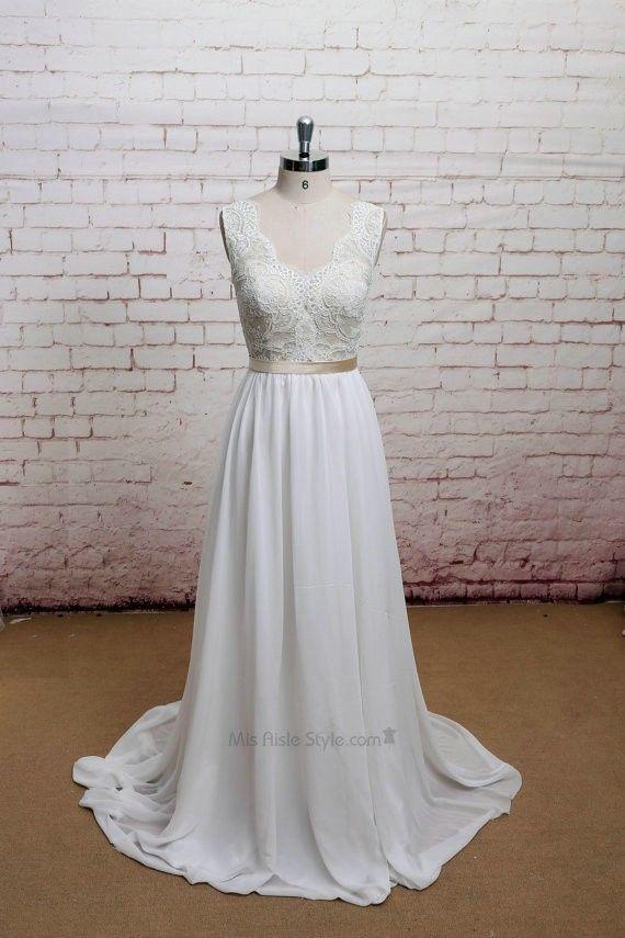 V-neckline Vintage Lace V-back Wedding Dress | Wedding Dresses ...