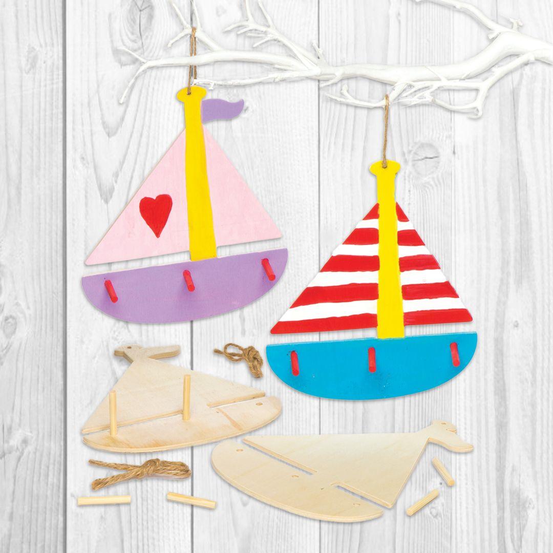 Boat Wooden Key Holders Bakerross Diy Summer Crafts Summer Crafts Wooden Key Holder