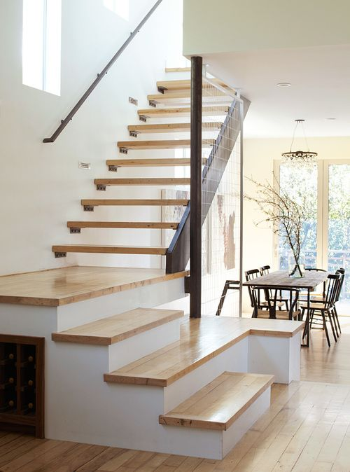 Modern Stairway Design With Wooden Floating Steps | Holder Design Associates