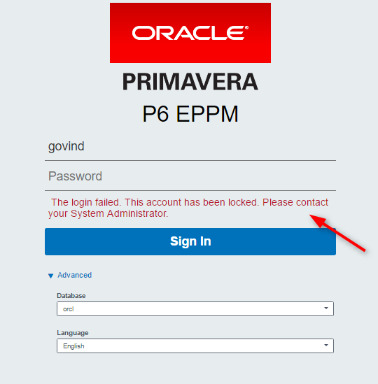 Primavera P6: The login failed. This account has been ...