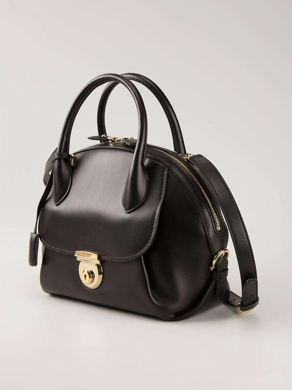 Black calf leather medium  Fiamma  tote from Salvatore Ferragamo ... 473e2a1b68047
