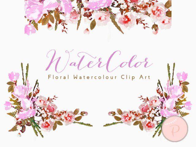 Watercolor Peonies, Wedding Floral Clip art, Watercolor Floral ...