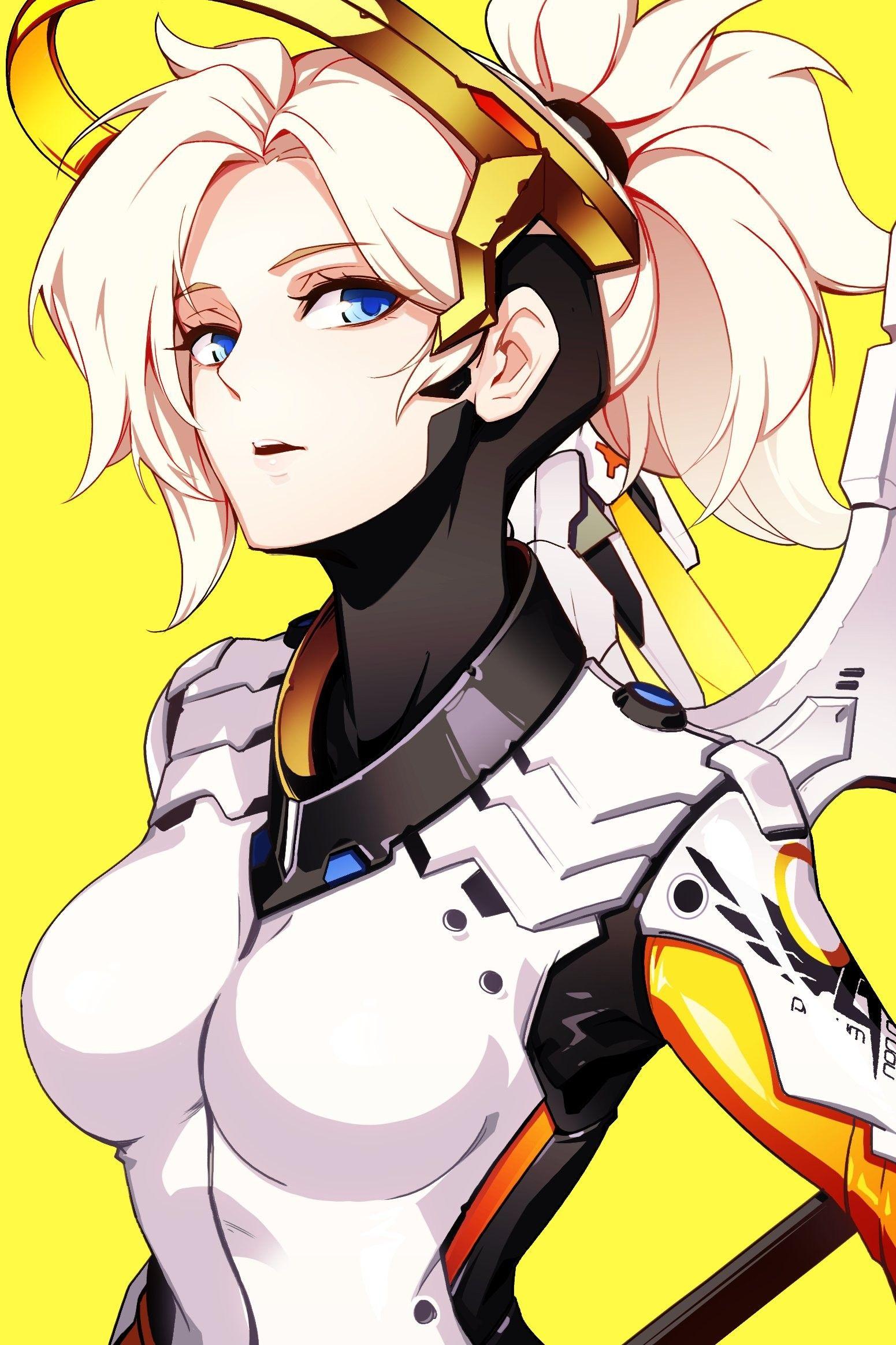blue eyes, #anime, #anime girls, #Overwatch, #Mercy, #Mercy