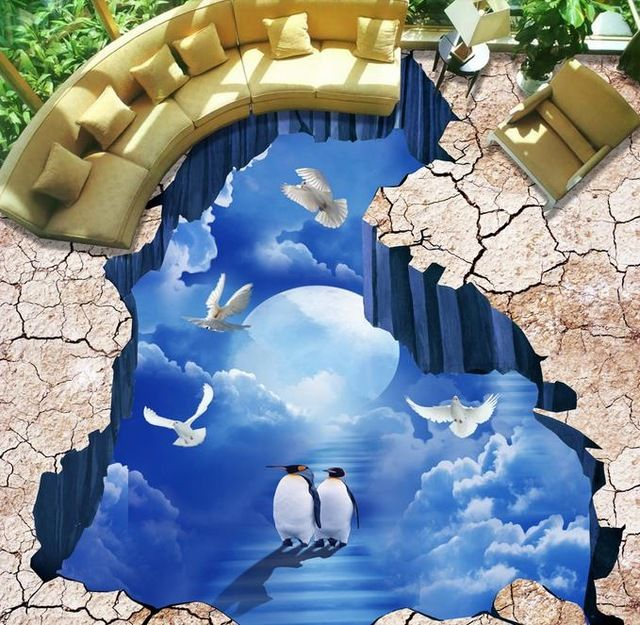 Most Beautiful 3d Tile Designs For Living Room Area With Cracks And Penguin Walking On The Sky Living Room Tiles Design 3d Floor Art Floor Art