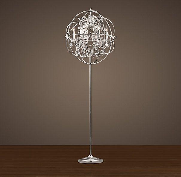 Foucault S Iron Orb Crystal Floor Lamp Polished Nickel Crystal Floor Lamp Chandelier Floor Lamp Crystal Floor