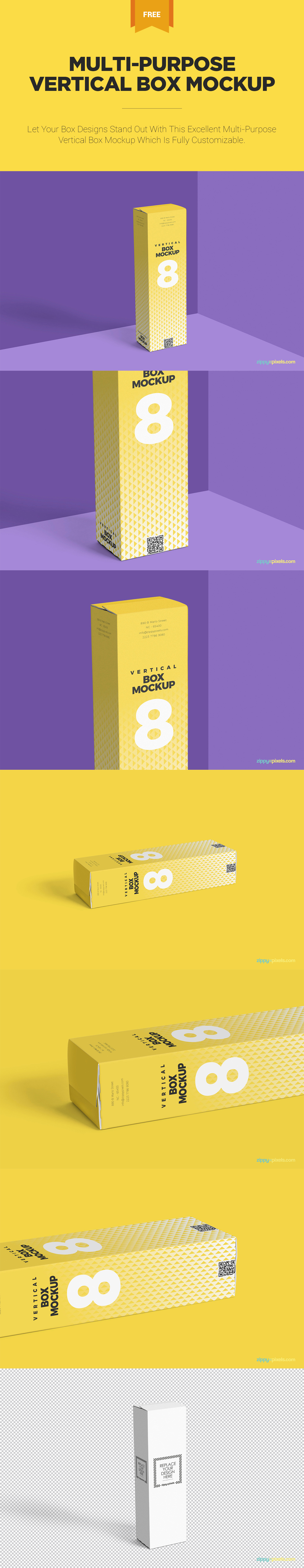 Download Free Vertical Box Mockup For Cardboard Zippypixels Box Mockup Mockup Packaging Mockup