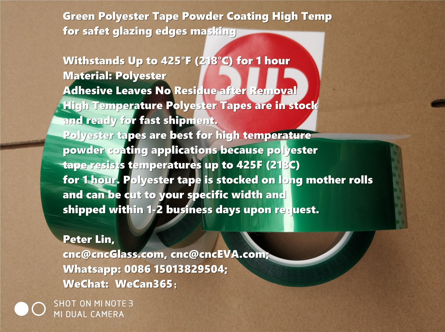 Green Polyester Tape Powder Coating High Temp For Safet Glazing Edges Masking Withstands Up To 425 F 218 C For 1 Hour Material P Tape How To Remove Adhesive