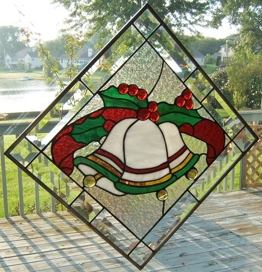 Beveled Stained glass window panel Christmas bells with holly ...