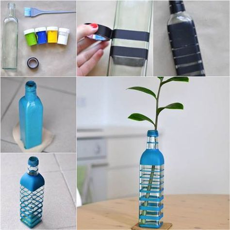 How To Diy Nice Vase From Recycled Glass Bottle Glass Bottle Diy