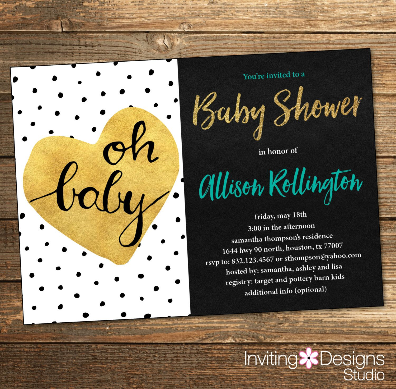 Oh baby Baby Shower Invitation Neutral Polka Dots Gold Heart Black ...