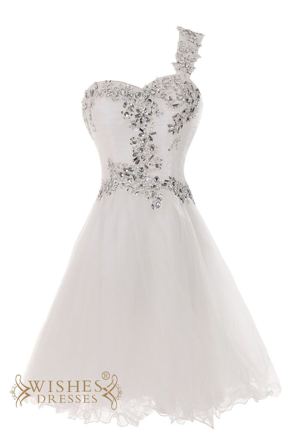 76904e9bde A-line formal Sweetheart organza bridal gown with beaded one strap. sparkle  rhinestones top with cute look