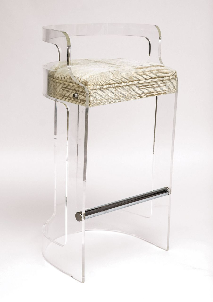 Four Lucite Bar Stools Style of Charles Hollis Jones