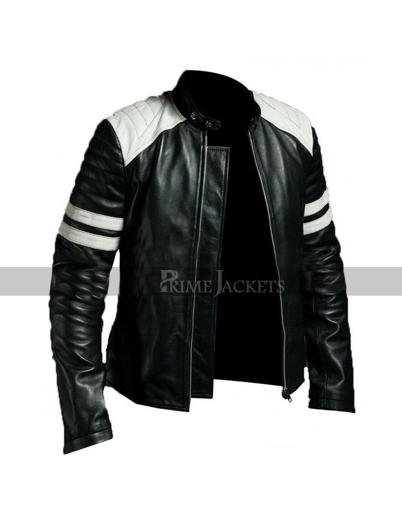 New Fight Club Retro Mayhem BLACK Leather Jacket WHITE STRIPE