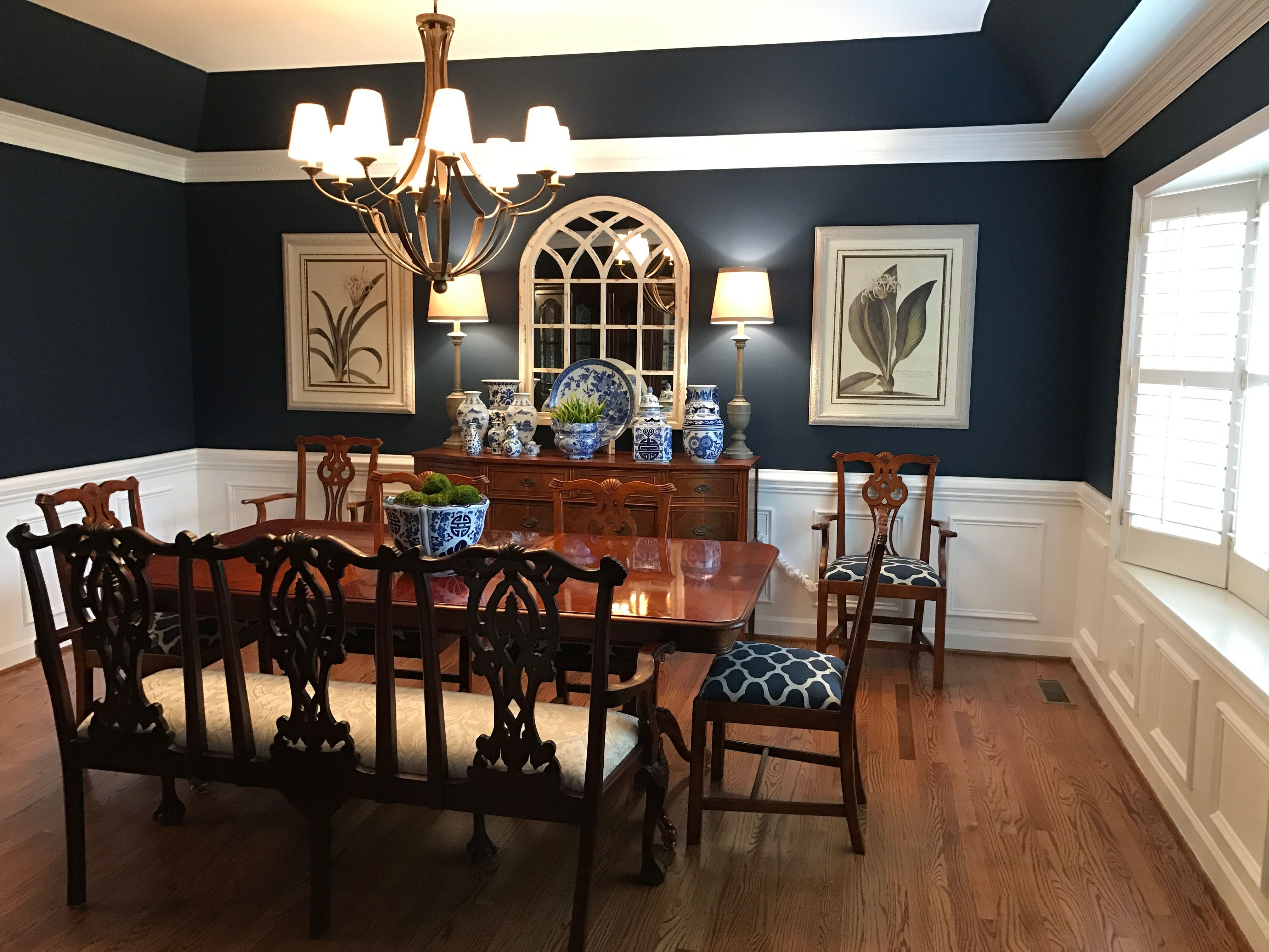 My Dining Room With Sherwin Williams Naval Paint Color Blue And White Pottery Antique Triple Settee