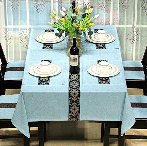 Wfljl Tablecloth Rural Style Dining Table Linen Living Room Decoration Coffee Table Rectangle Blue 130 Coffee