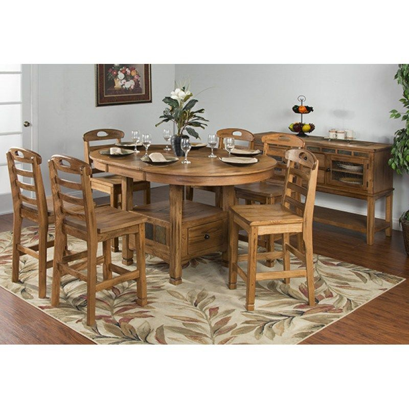 Sedona Oval Gathering Table With Storage In Rustic Oak Mcgregors
