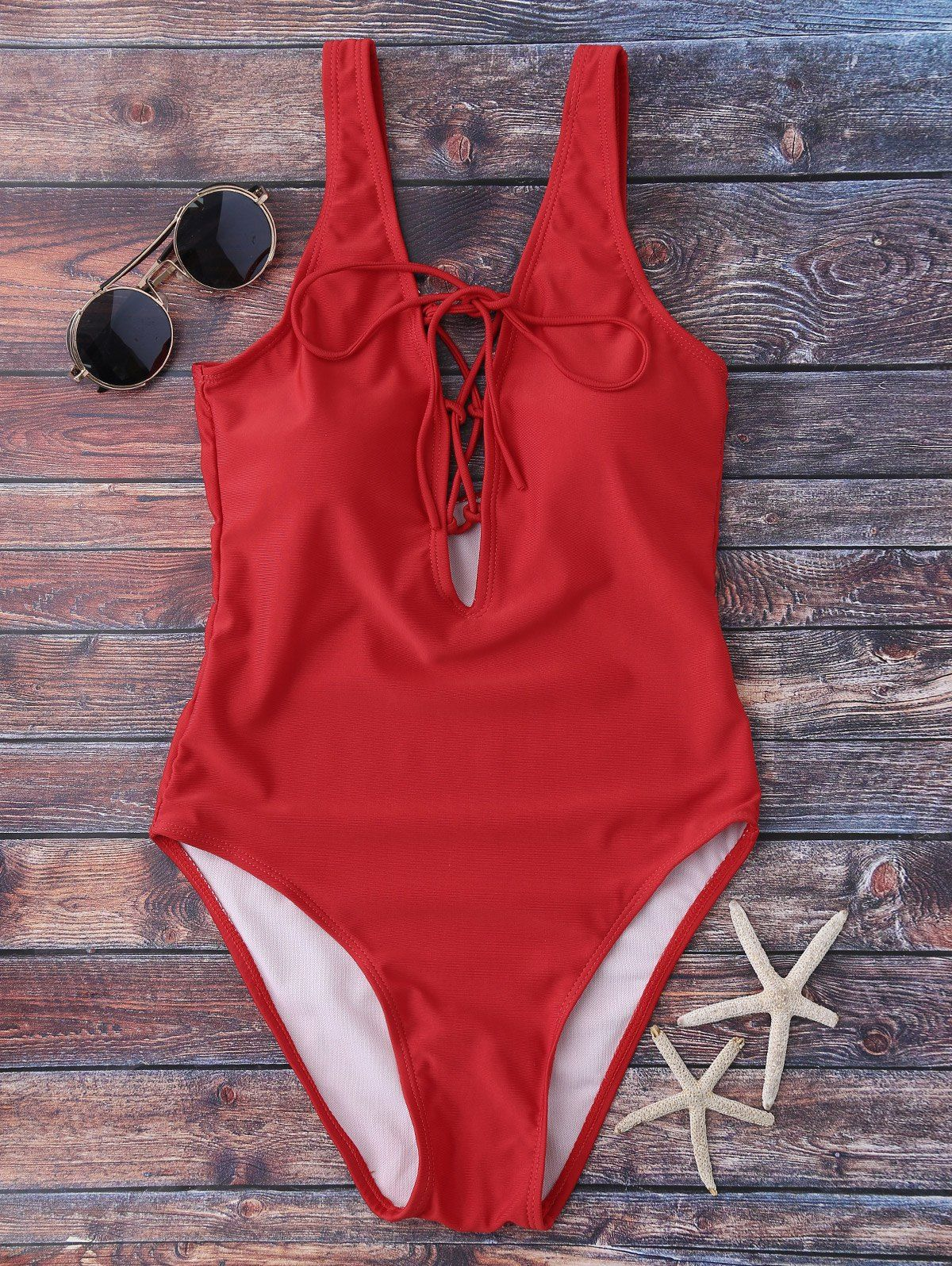 $15.99 Lace Up Plunging Neck Swimwear - RED S