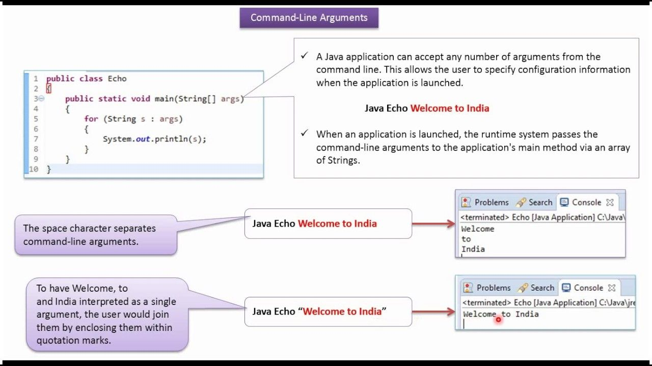 Java Tutorial: Command line arguments in java | Java command line
