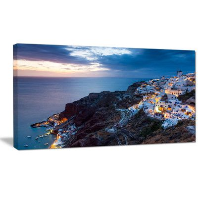 "DesignArt 'Night Shot Oia Santorini Greece' Photographic Print on Wrapped Canvas Size: 16"" H x 32"" W x 1"" D"