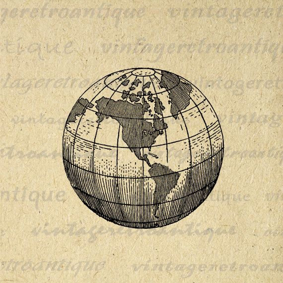 Printable earth globe clipart world map digital image graphic planet earth globe world map digital image graphic by vintageretroantique gumiabroncs Image collections