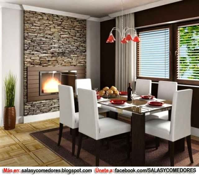 Decoraci n de comedor con chimenea como decorar paredes for Comedores modernos chocolate