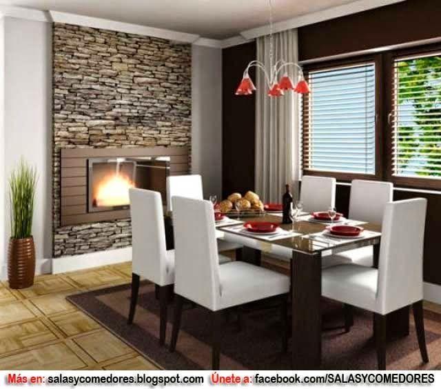 Decoraci n de comedor con chimenea como decorar paredes - Decorar paredes comedor ...
