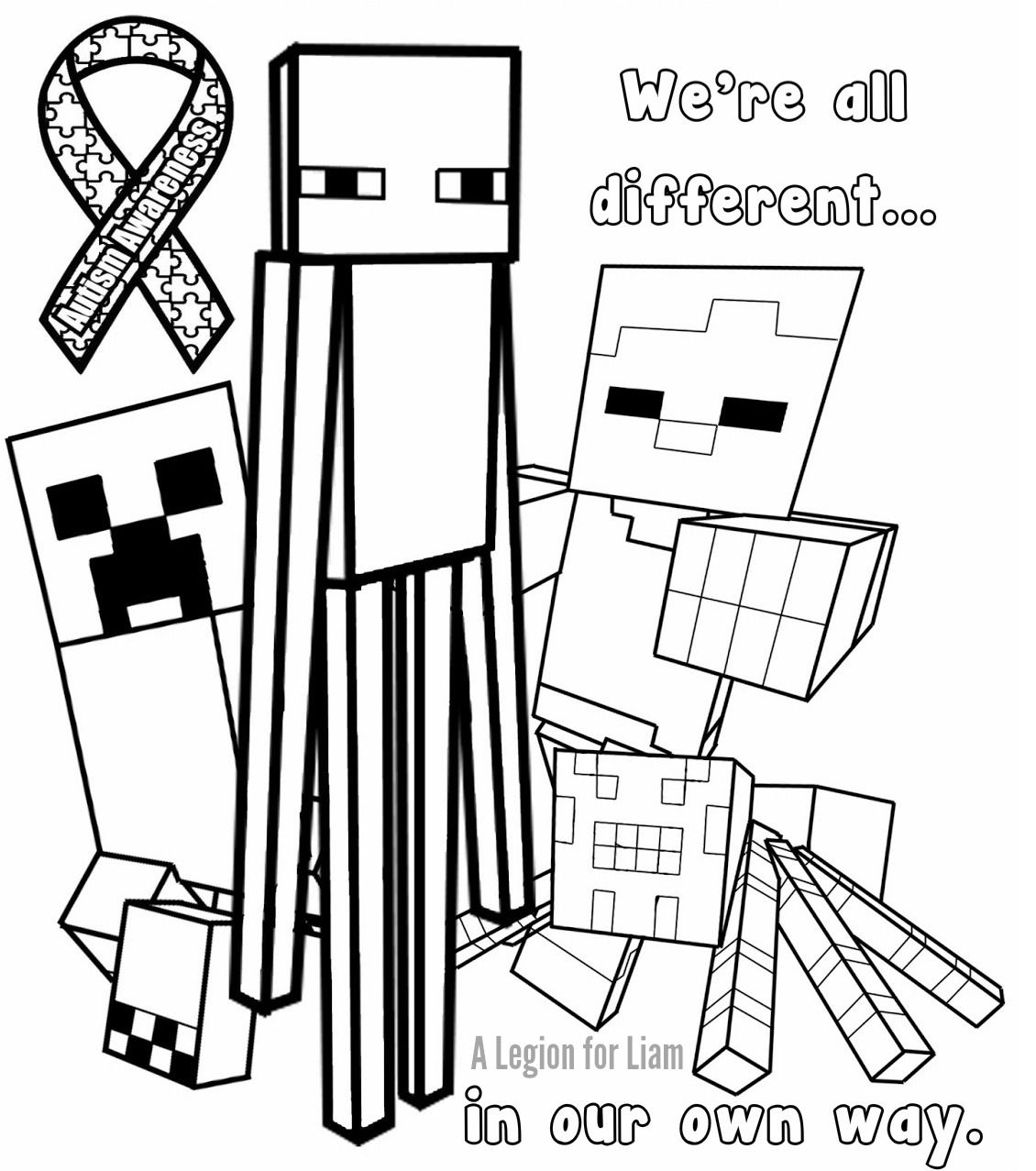 Minecraft autism coloring page by a legion for liam for Cute minecraft coloring pages