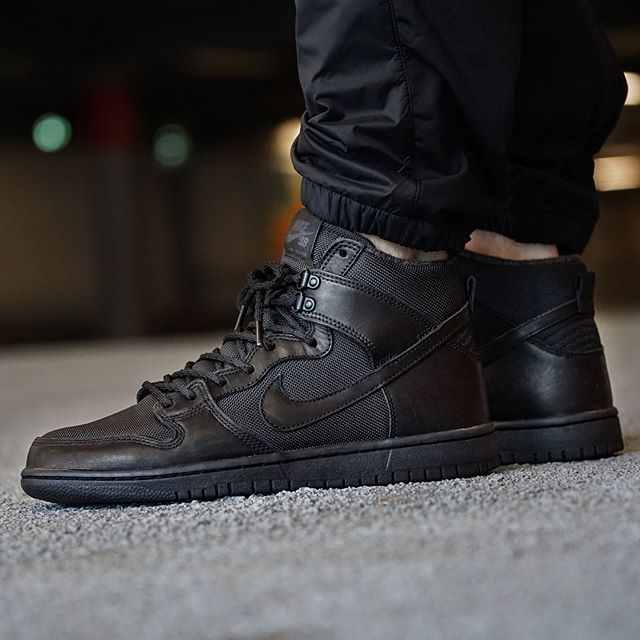 Still waiting for the @nikesb Dhnk comeback? Well here's a start to keep  you going, with an all black Dunk Hi Pro Bota. #nike #nikesb #dunk #sneaker  ...