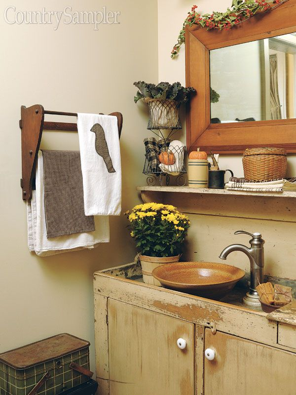 Turn A Dry Sink Into A Vanity With The Addition Of A Bowl Style Basin Primitive Bathrooms Diy Sink Vanity Home Decor