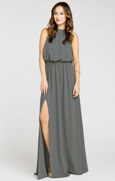 58d3b3bc84d Heather Halter Dress ~ Soft Charcoal Crisp