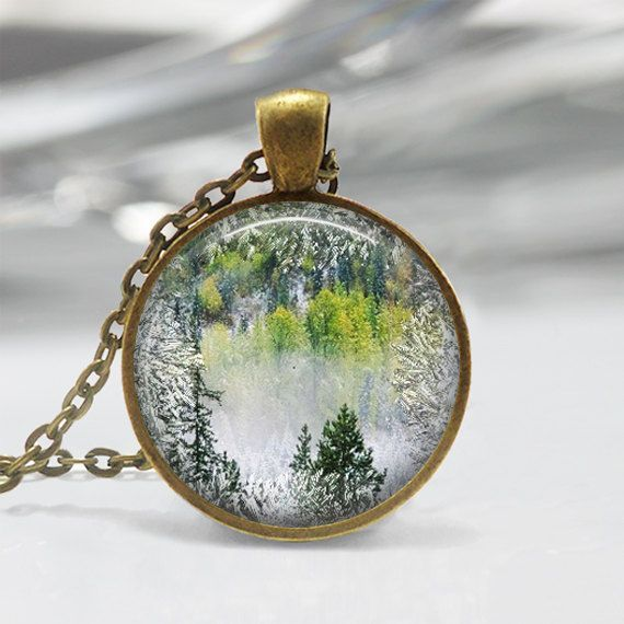 Winter evergreen forest tree pendant resin pendant picture octopus necklace kraken vintage ship nautical jewelry art pendant in bronze or silver with link chain included mozeypictures Choice Image