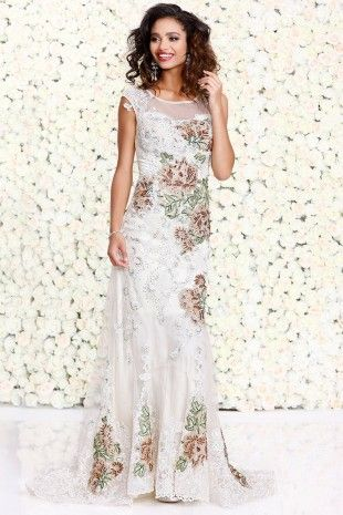 Butter Body-Hugging Sleeveless Gown With Contrasting Florals 4092