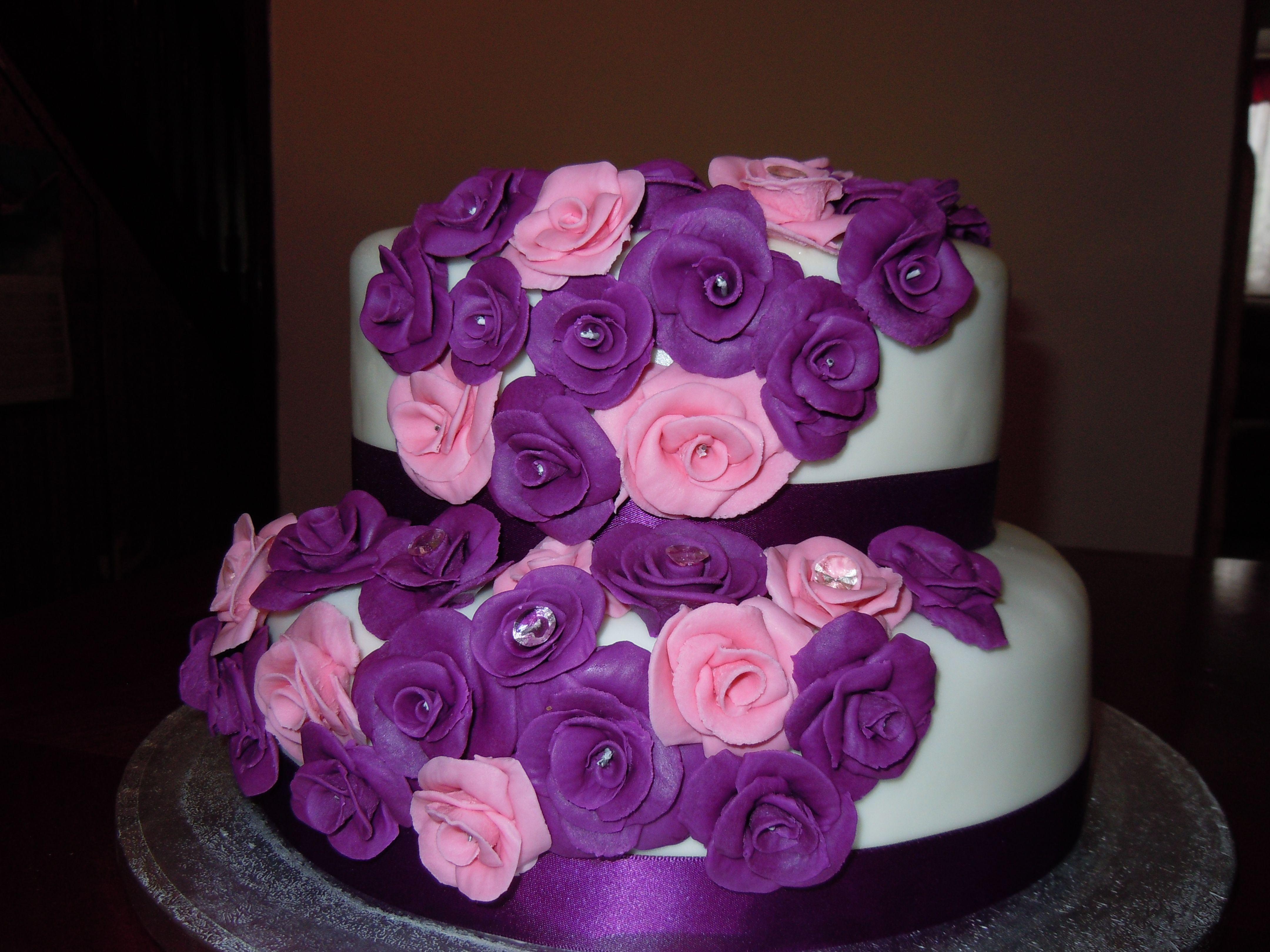 Purple and Pink 2 Tier Wedding Cake