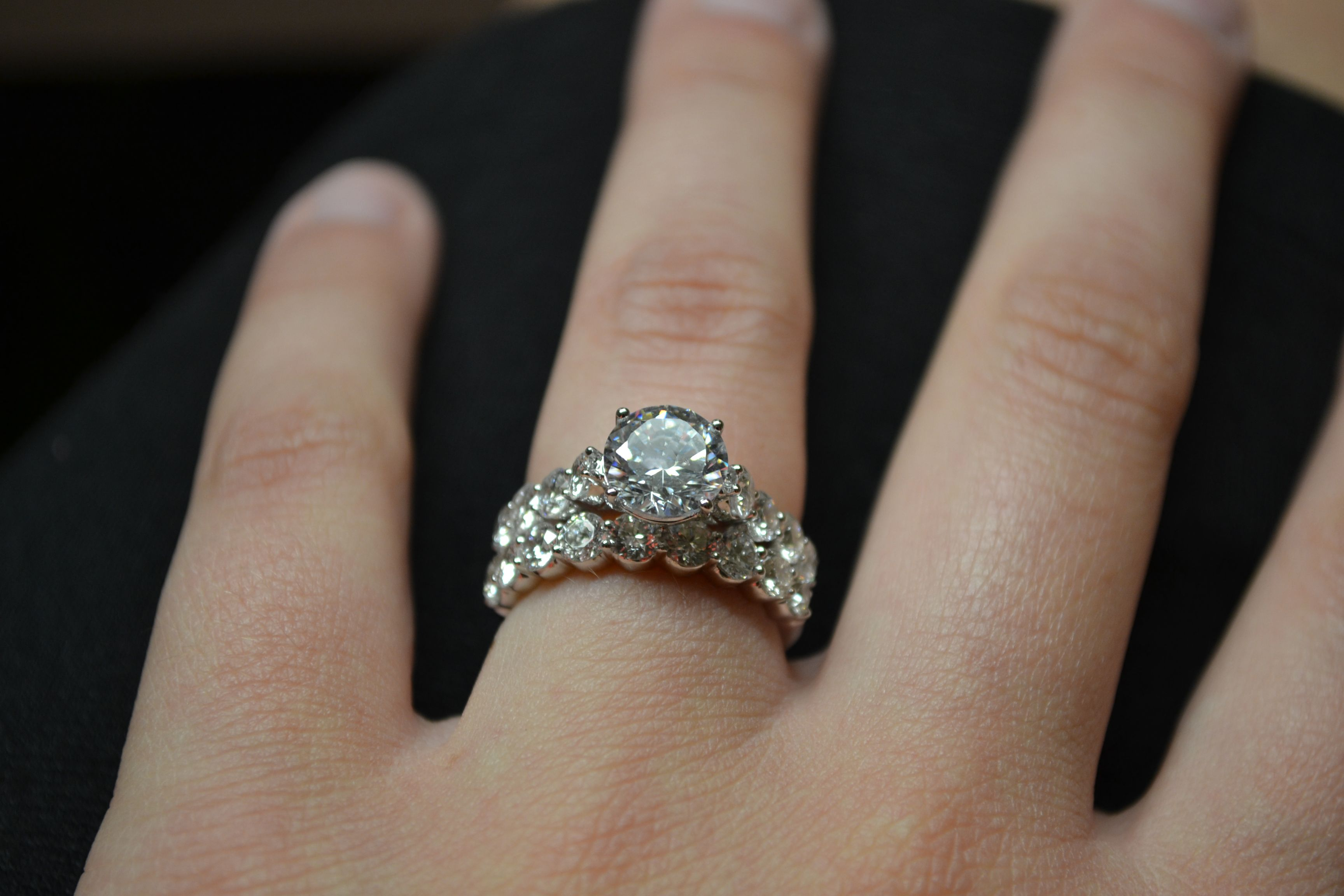 shape micro rings ring engagement pave diamond halo cushion ritani