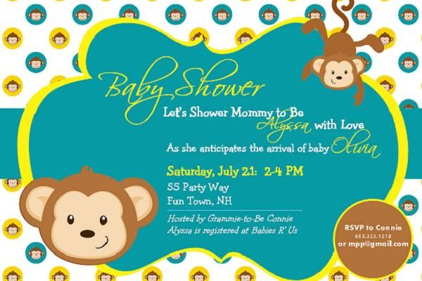 Baby Shower Invitations Monkey Baby Shower Invitations Polkadot