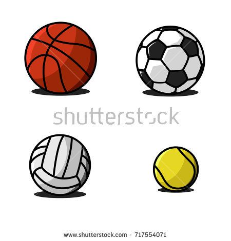 Set Sport Balls Traditional Pattern And Colors Fun Colorful Vector Of Icons Collection Soccer Volleyball Bask Sports Balls Cartoon Styles Cartoon Volleyball