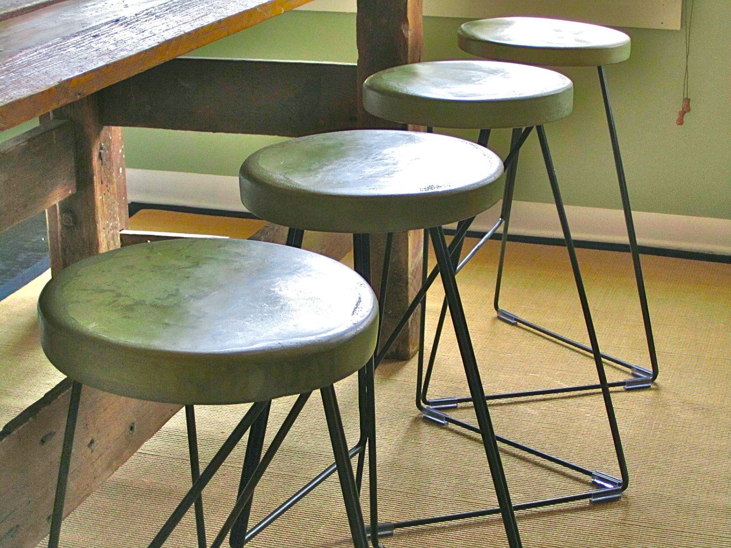 industrial concrete and steel indoor outdoor bar stools via