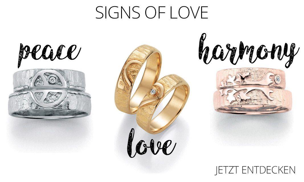 Traumhafte Eheringe mit aussagekräftigen Symbolen Gehämmert und