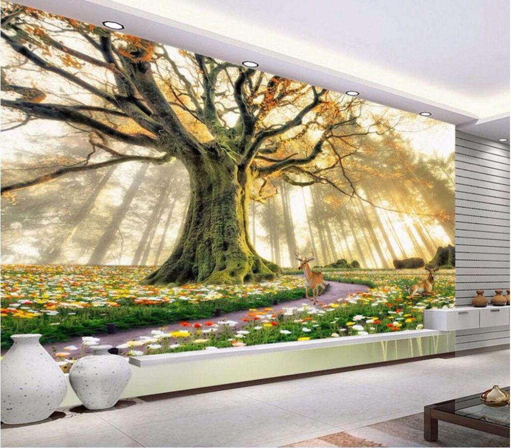 Custom Mural Photo 3d Room Wallpaper Forest Flowers Elk Home Decoration Painting Picture Wall Murals For 3 D