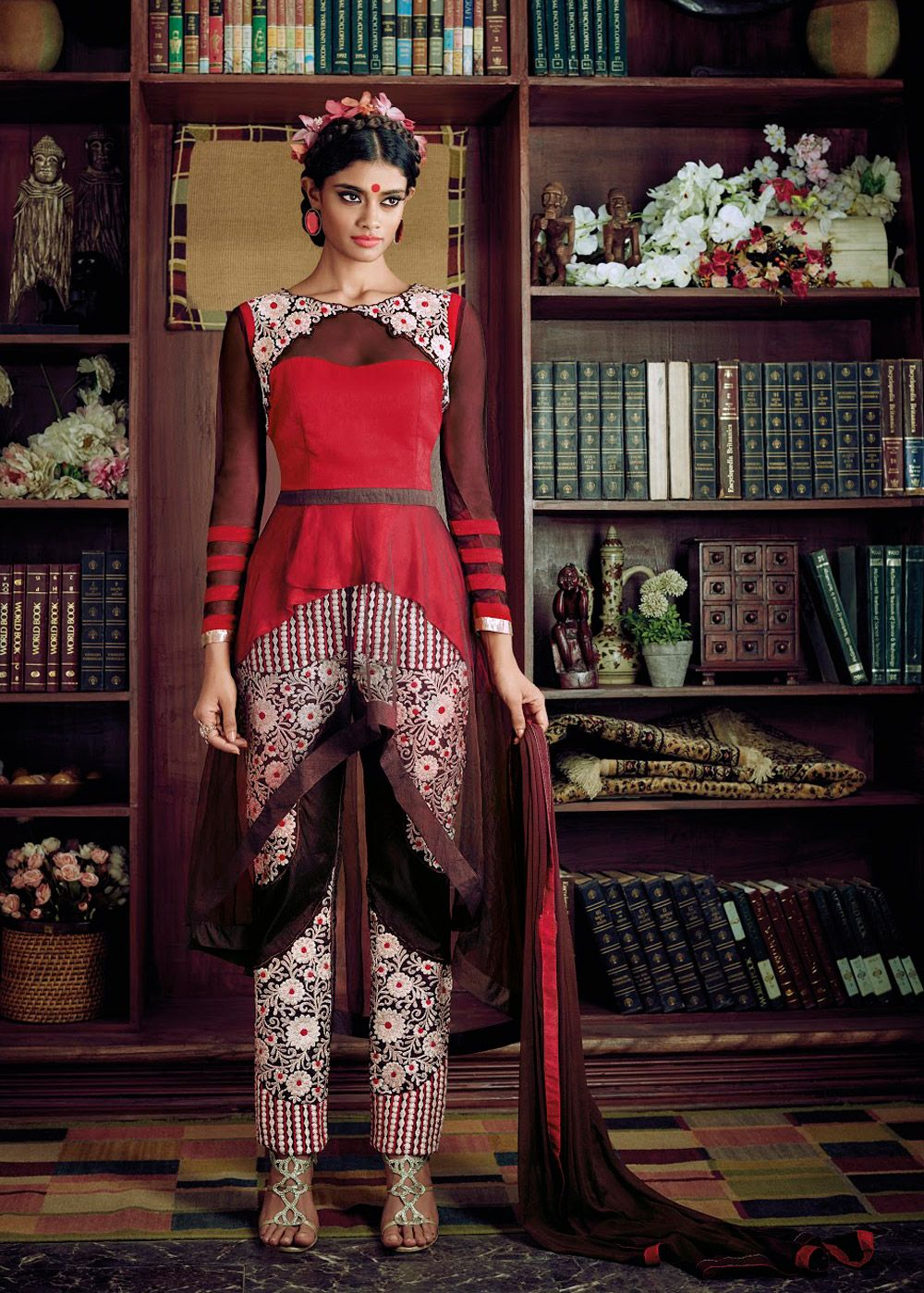 Brown u red net and georgette asymmetric kameez with straight pant