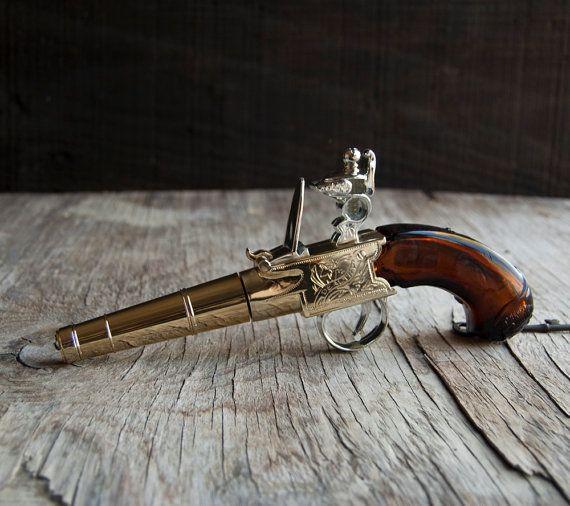Thomas Jefferson Handgun Avon Glass Bottle By Vintageparlormens