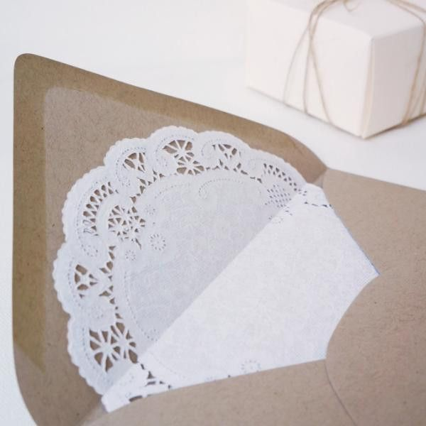 Lace Doily Lined Invitation Envelopes Set of 25