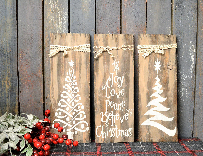 Christmas Tree Trio Christmas Sign Christmas Decor Painted Sign