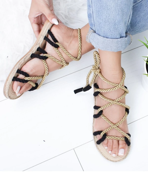 Nevera Summer Shoes Women Vintage Roman Open Toe Sandals Flat Gladiator Sandals Non Slip Lace Up Bottom Sandals