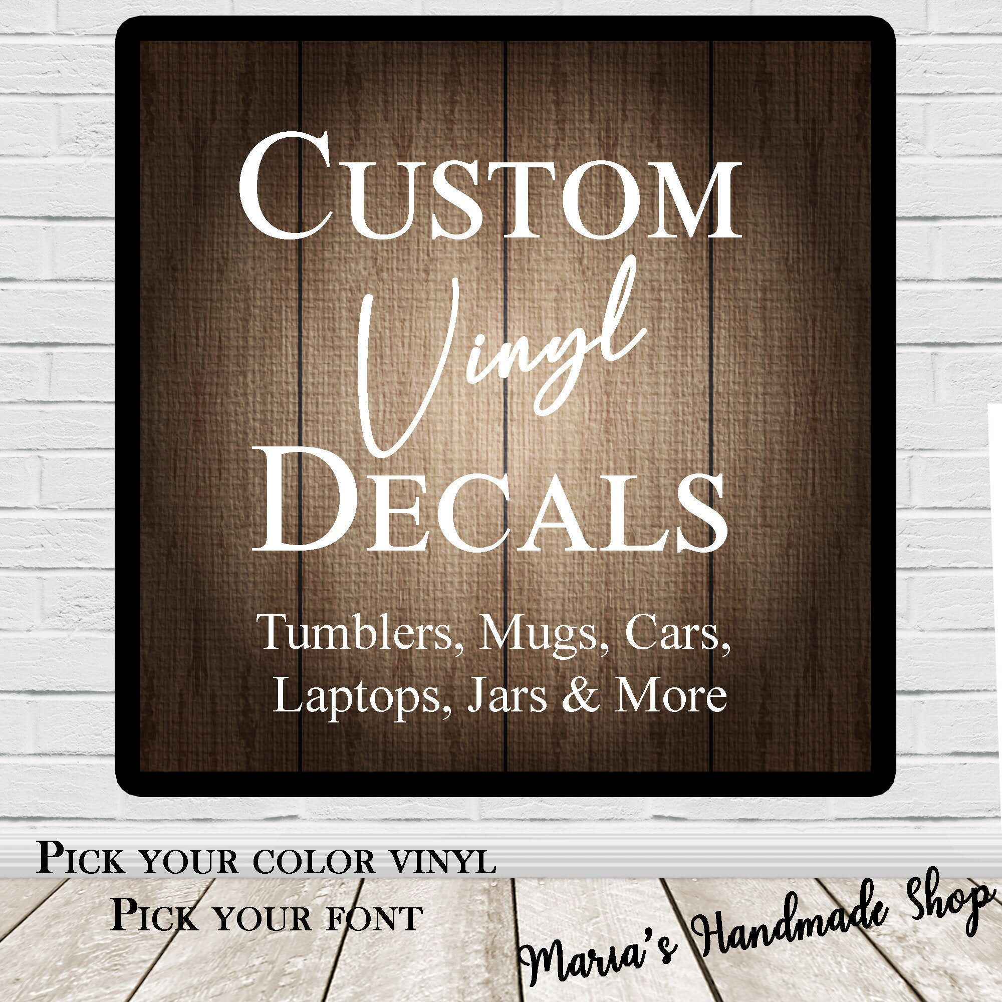Custom Vinyl Decal Personalized Vinyl Decal Name Decal Use On Car Laptops Tumblers Signs Cups Mugs Containers In 2020 Personalized Vinyl Decal Custom Vinyl Decal Personalized Decals